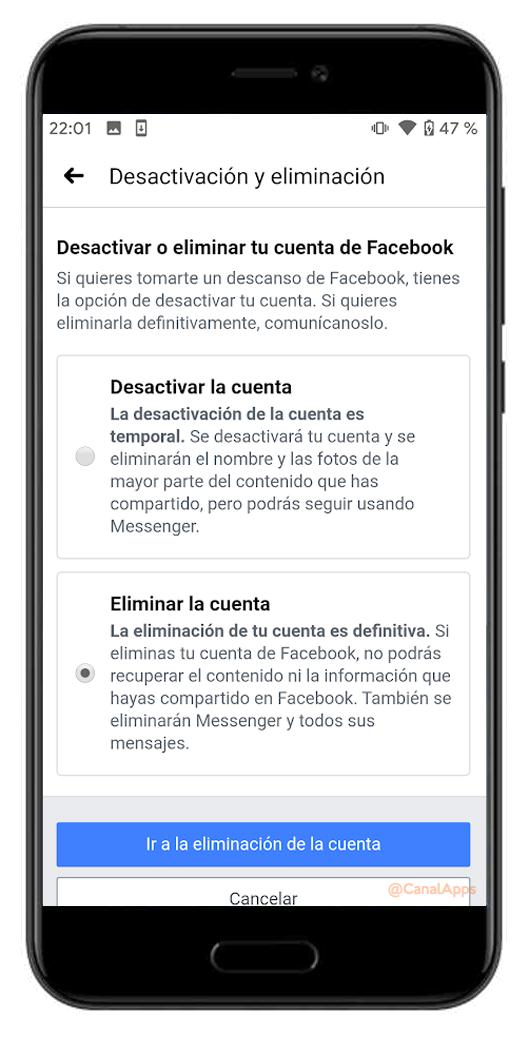 eliminar cuenta de facebook app