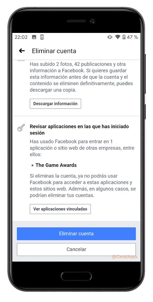 Eliminar cuenta definitivamente Facebook app