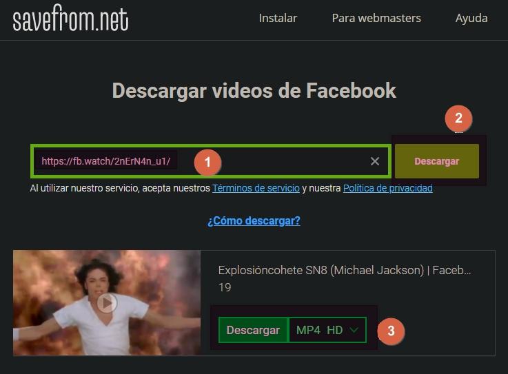 descargar vídeo facebook sin programas