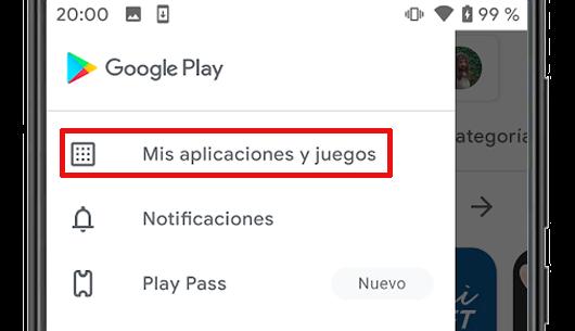 google play menu mis aplicaciones y juegos