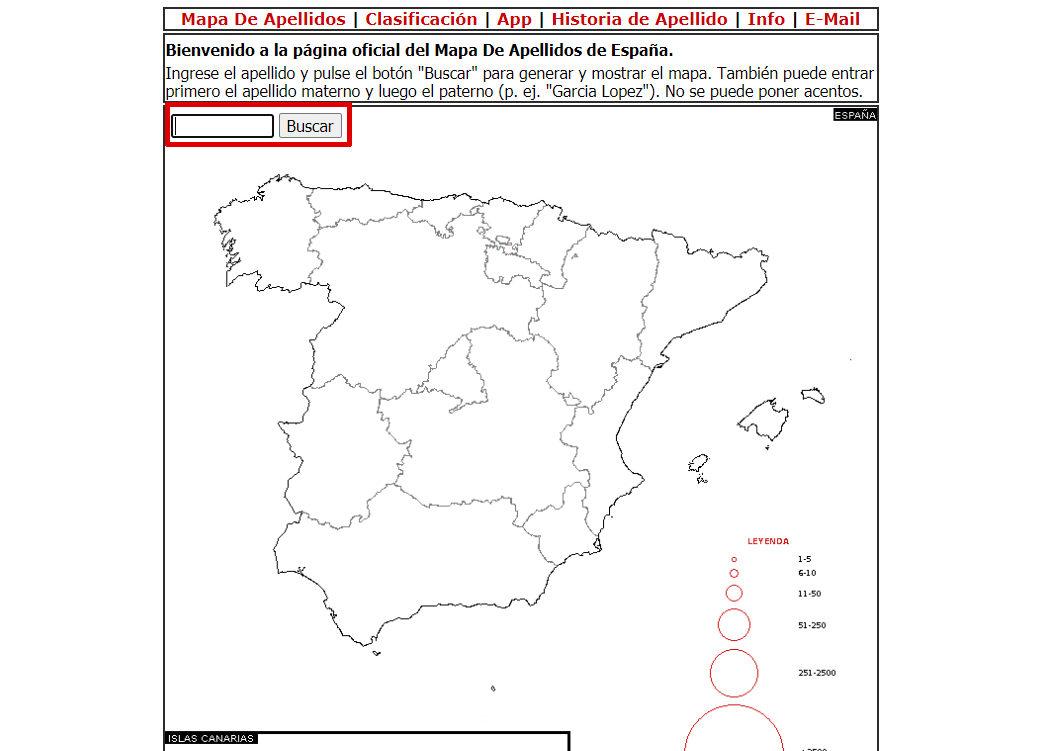 mapa de difusión de apellido