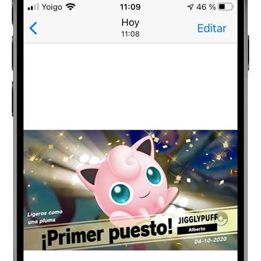 captura de nintendo switch en la galería de un iphone
