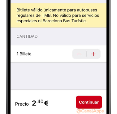 tmb app configuracion billete