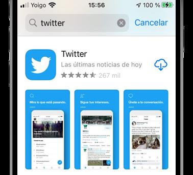 twitter en app store