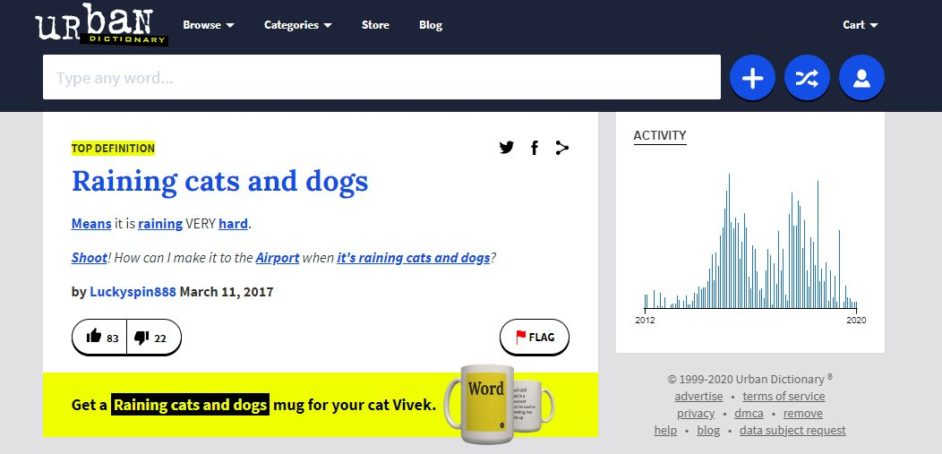 urban dictionary raining cats ands dogs