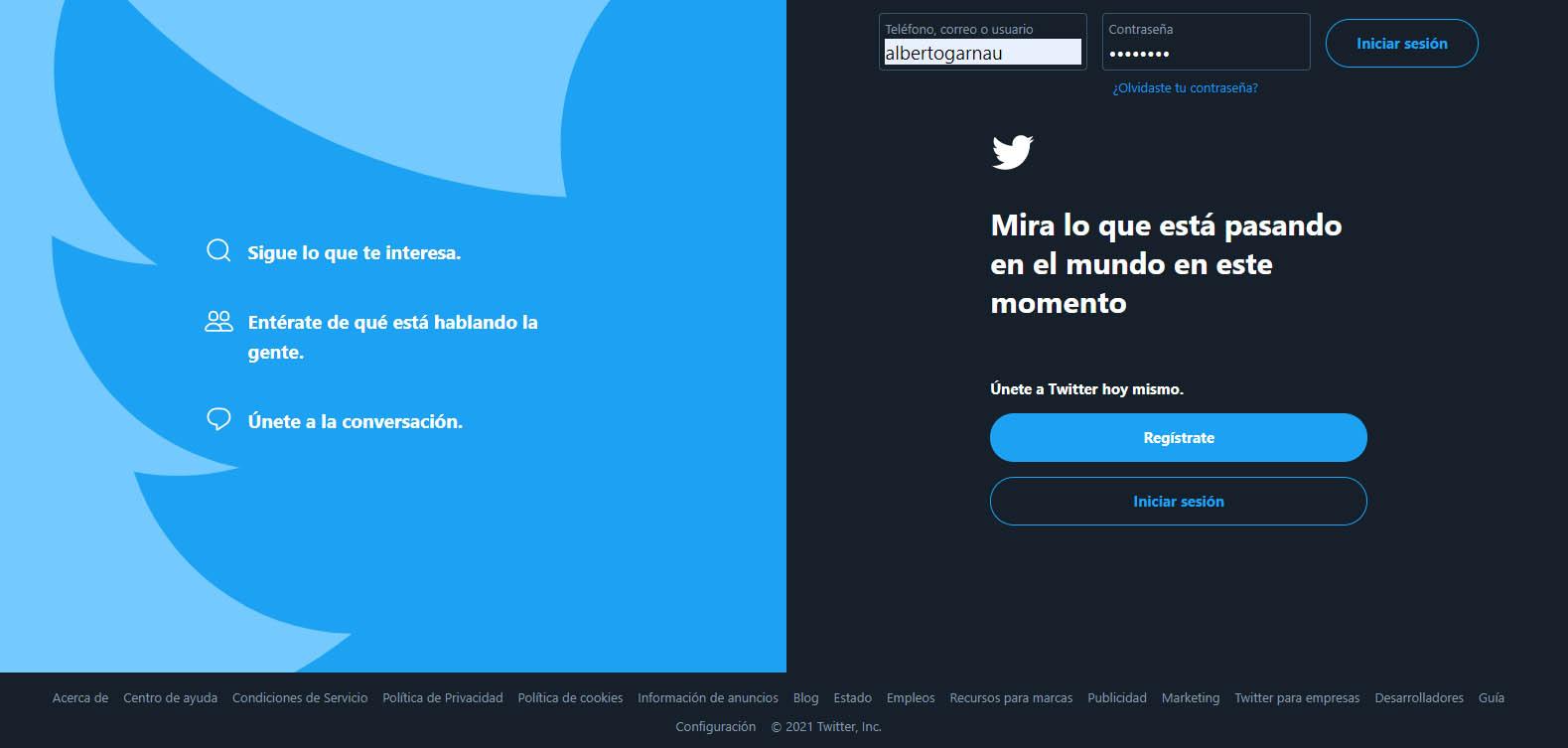 iniciar sesion twitter navegador