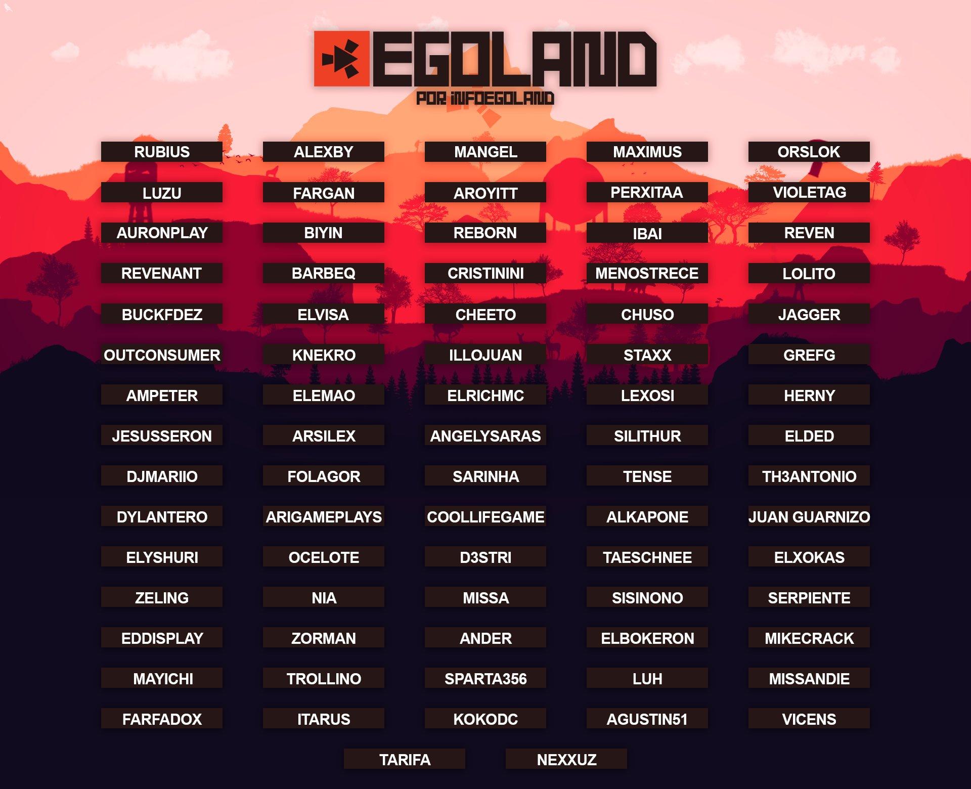 lista participantes youtubers egoland