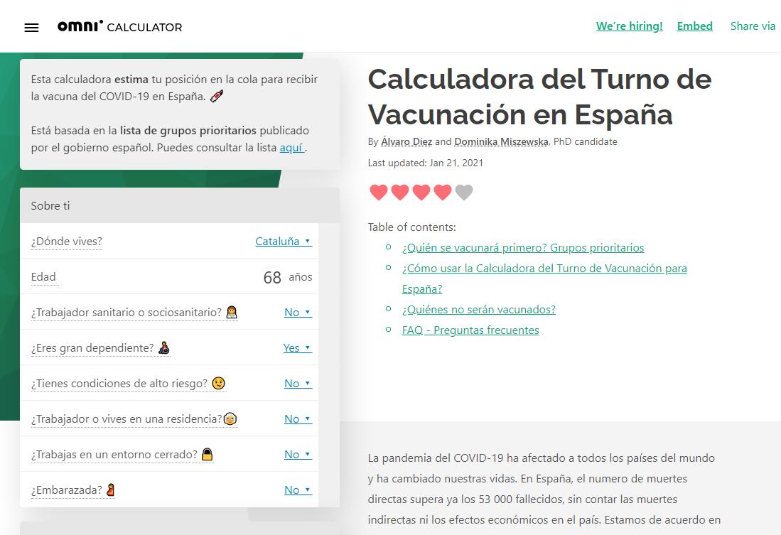 omnicalculator calculadora vacuna coronavirus covid