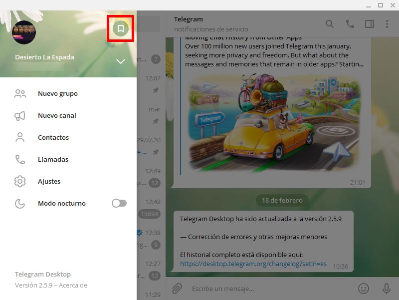 mensajes guardados telegram windows