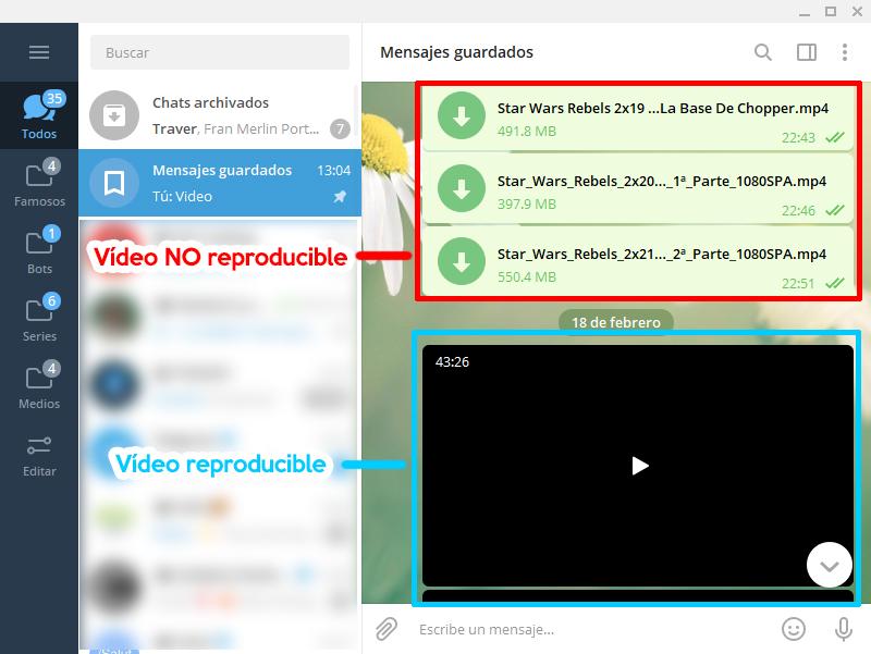 telegram video no reproducible streaming