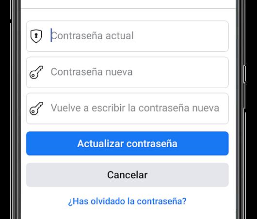 facebook actualizar contraseña app