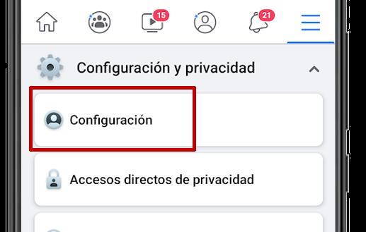 facebook configuracion app