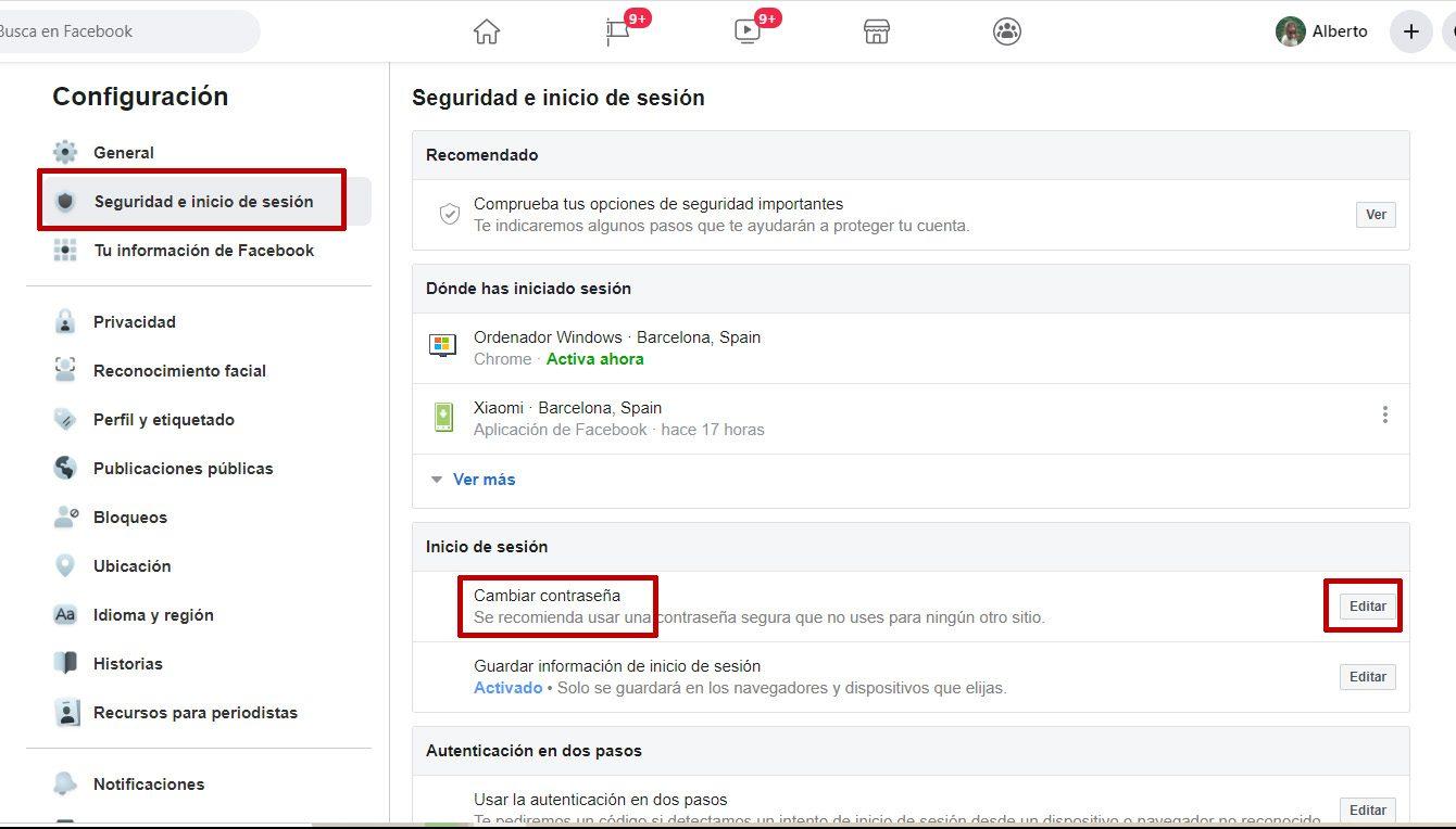 facebook menu principal seguridad e inicio de sesion