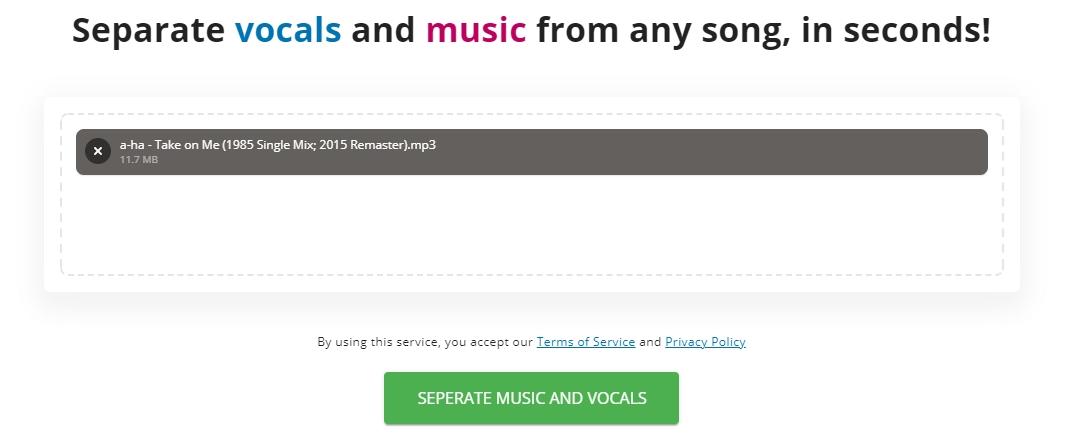 vocali se separar voz instrumental