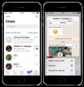 ver mensajes whatsapp ios mantener pulsado