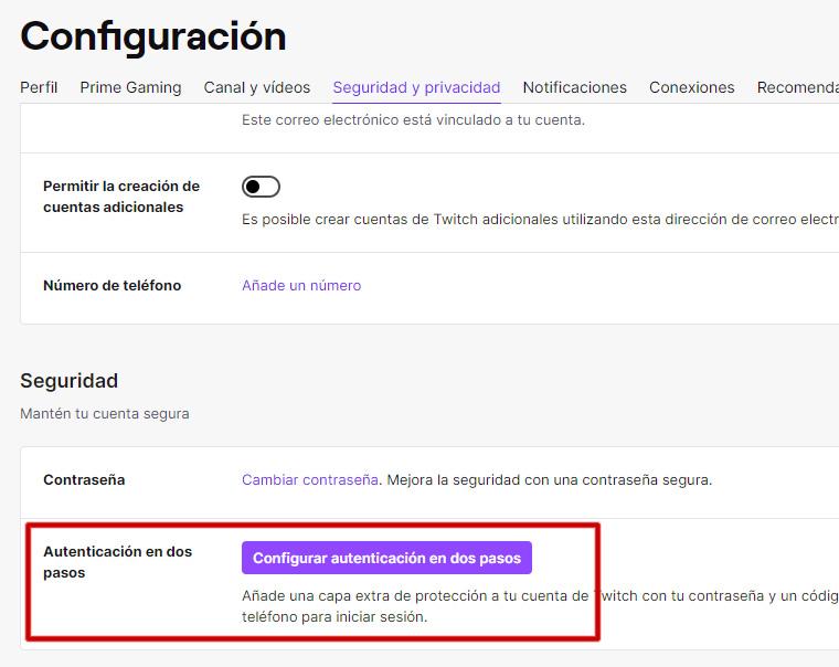 twitch configurar autenticación en dos pasos