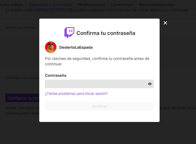 twitch confirmar contraseña